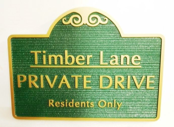 H17034 - Carved and Sandblasted Wood Grain HDU Street Name and Private Drive Sign, Timber Lane