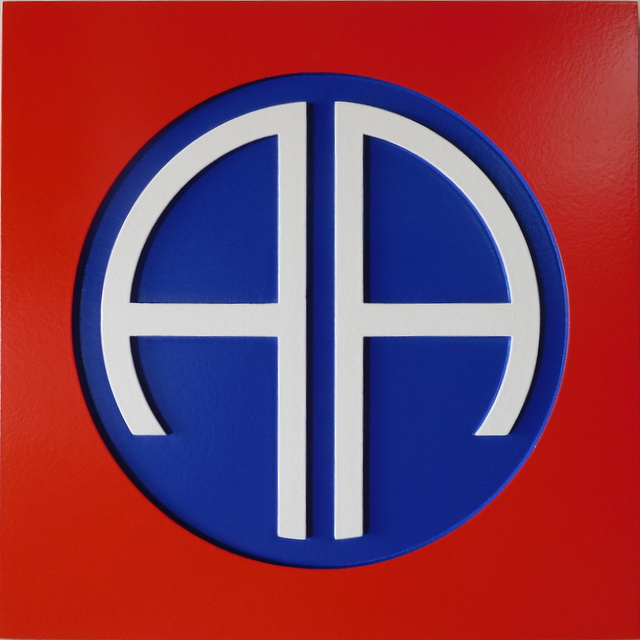 MP-1595 - Carved Plaque of the Insignia of the 82nd Airborne Division of the US Army,  Artist Painted
