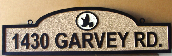 I18542 - Carved and Sandblasted 2.5-D HDU Address Sign, with Bird