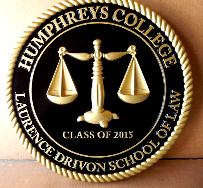 A10918 - 3-D Carved and 24K gold Leaf-Gilded Wall Plaque for Humpheys College School of Law.