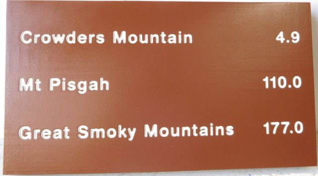 G16114 - Painted Wood Sign Giving Distance to Great Smoky Mountains, Crowders and Pisgah