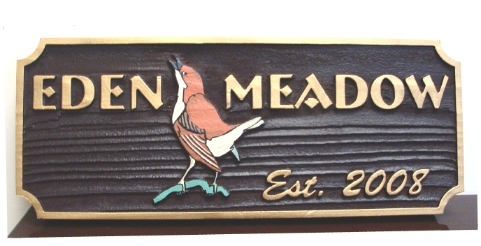M22814 - Singing Robin Sandblasted  Redwood Cabin Sign
