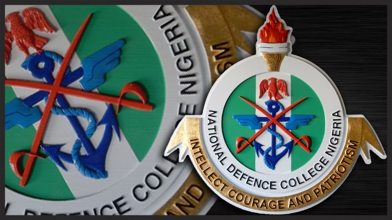 EP-1220  - Carved Plaque of the Seal of the National Defense College of Nigeria Leone,   Artist Painted