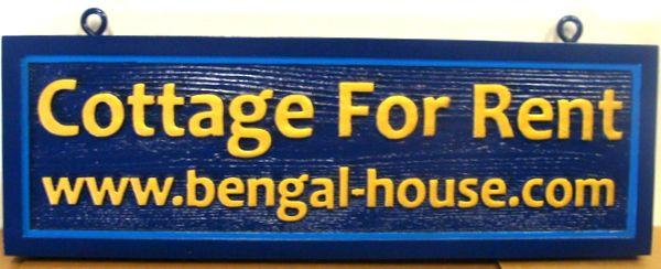 L21948 -Carved and Sandblasted Cedar Wooden Bengal House Cottage for Rent Sign