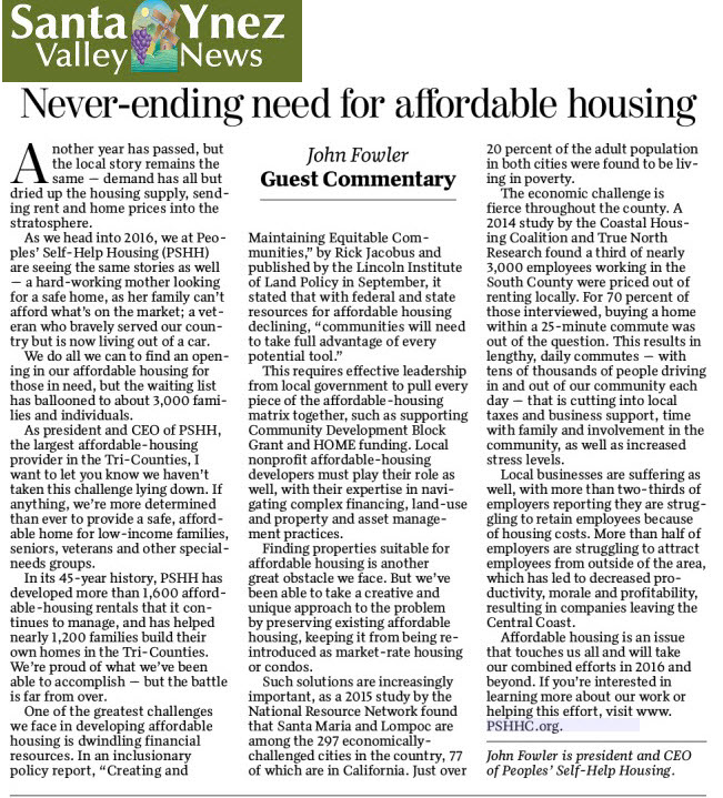 Never Ending Need for Affordable Housing - Santa Ynez Valley News