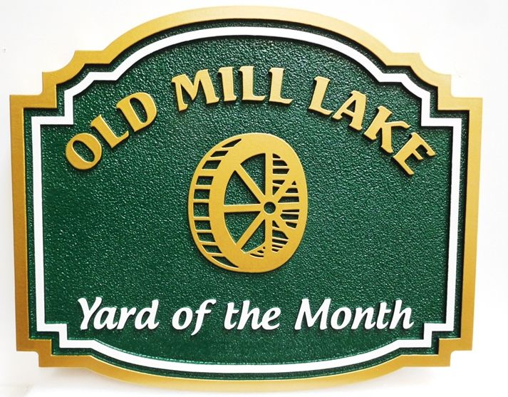 "KA20961- Carved and Sandblasted  High-Density-Urethane (HDU) Yard-of-the-Month Sign for the ""Old Mill Lakes"" Home Owners Association (HOA), 2.5-D"