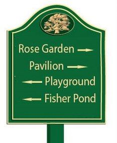 GA16576 - Design of Carved Wood or HDU Directional Sign with Arrows for Rose Garden, Pavilion, Playground and Pond