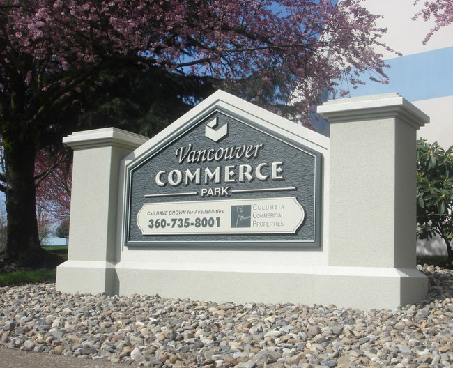 """S28187-  Entrance Monument Sign for """"Vancouver Commerce Park"""", with Pillars and Triangular Arch"""