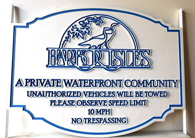 K20163 - Carved Outlined 2.5-D  Sign for Harbor Isles Residential Community Entrance Sign, with Standing Egrets