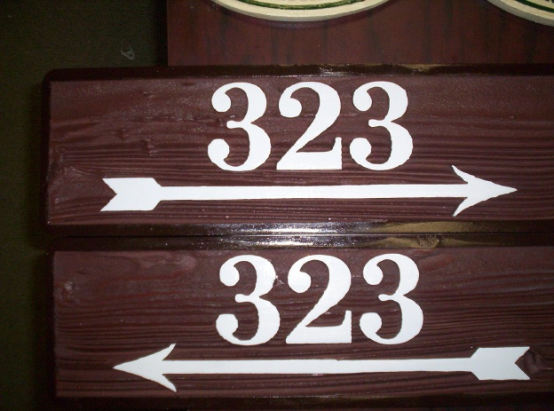 KA20856 - Stained Wood Directional Sign for Apartment