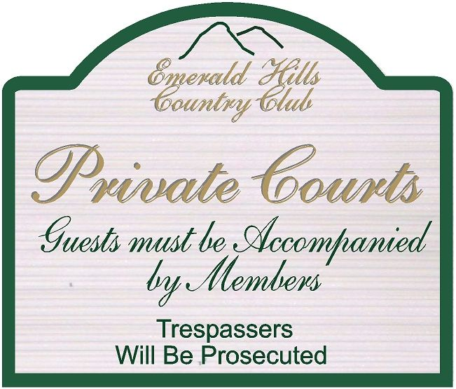 GB16862 -  Carved HDU Tennis Court Entrance Sign for the Emerald Hills Country Club
