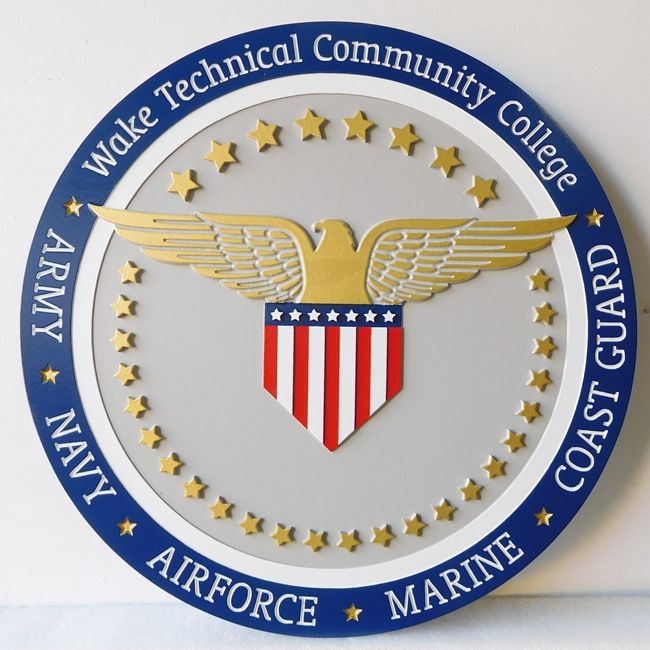 Y34360 -  Carved 2.5-D and Engraved HDU Wall Plaque of the Seal of Wake Technical Community College.