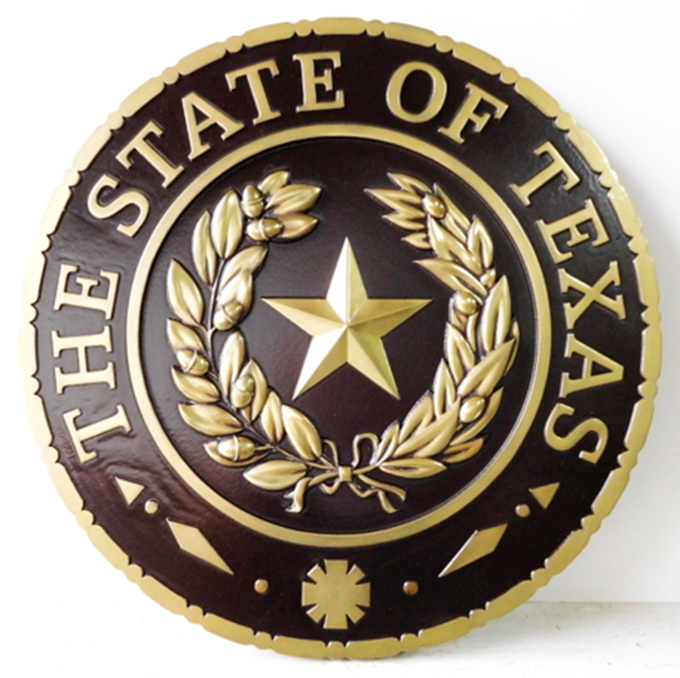 W32477 -  Brass 3-D Wall Plaque of the Great Seal of the State of Texas, with Black Hand-Rubbed Paint
