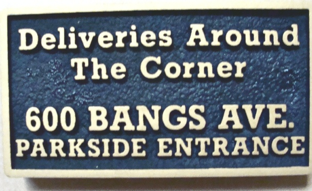 """SA28703 - Sandstone Texture  Entrance Sign for a Store with  """"Deliveries Around the Corner"""""""