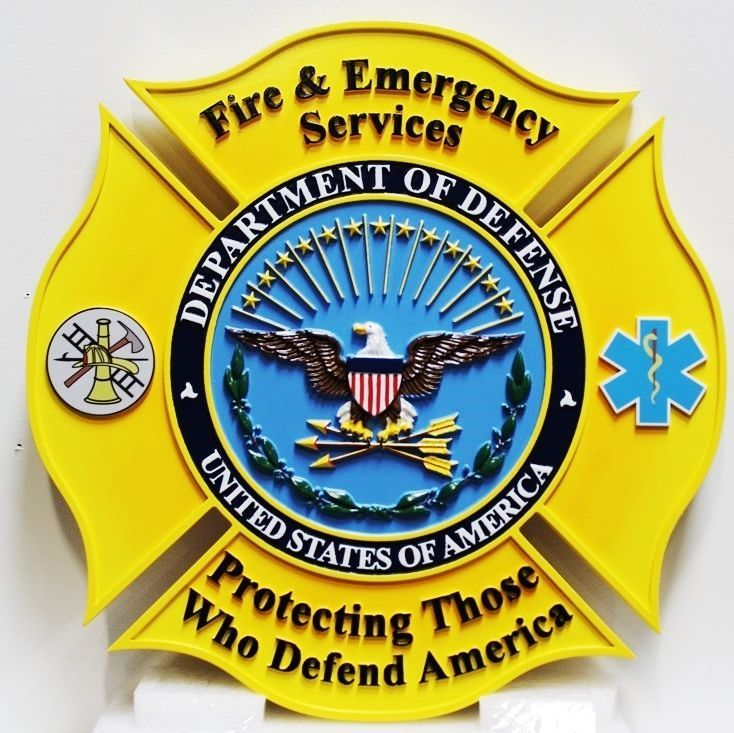 QP-3035 - Carved Plaque of the Badge of Fire and Emergency Services, Department of Defense, 3-D Artist-Painted