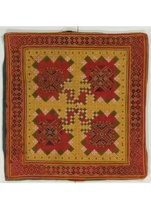 Godi (pillow), probably made in Rahim Yar Khan, Punjab, Pakistan, circa 1948, purchase made possible through James Foundation Acquisition Fund, 24 x 24.875 in, IQSCM 2008.027.0031
