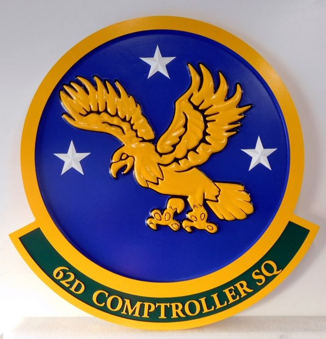 LP-4090 - Carved Round Plaque of the Crest of the 62nd Comptroller Squadron, Artist Painted