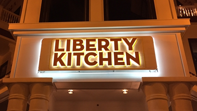 "S28020 - Dimensional Sign Made for the ""Liberty Kitchen"" , with Carved Individual HDU Letters"