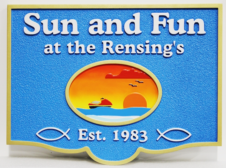 """L21240 - Carved and Sandblasted HDU Coastal Residence Sign, """"Sun and Fun"""", with a Wave-runner and a Sunset over the Ocean"""