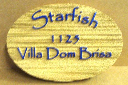 "L21518 - Sandblasted HDU Seaside Residence Address Sign, ""Starfish"""