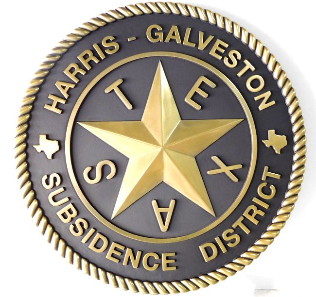 M7147- Brass 3D Wall Plaque for the Harris-Galveston Subsistence District, Texas