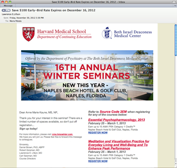 Harvard winter email