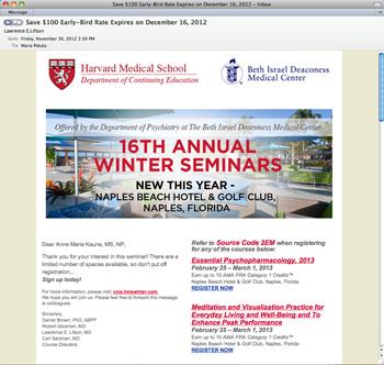 Harvard winter email