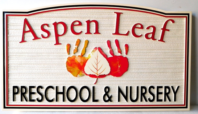"FA15922 - Carved   HDU Entrance Sign for the ""Aspen Leaf Preschool and Nursery"",  with Child's Hand-Prints as Artwork"