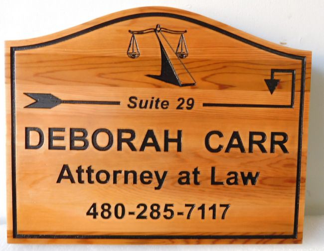 A10016 - Natural Cedar Engraved Attorney at Law Sign