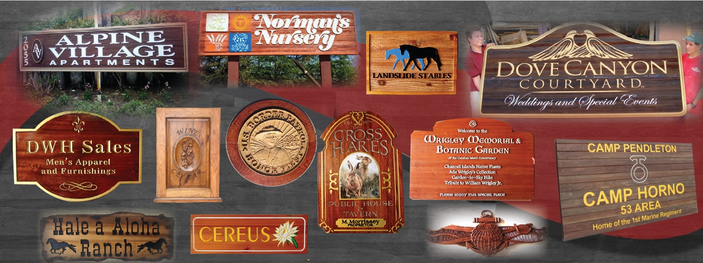 Product Line 3 - Examples of Wood (Cedar, Redwood, Mahogany, Maple, Oak, Poplar)   Signs & Plaques (Carved, Engraved or Sandblasted)