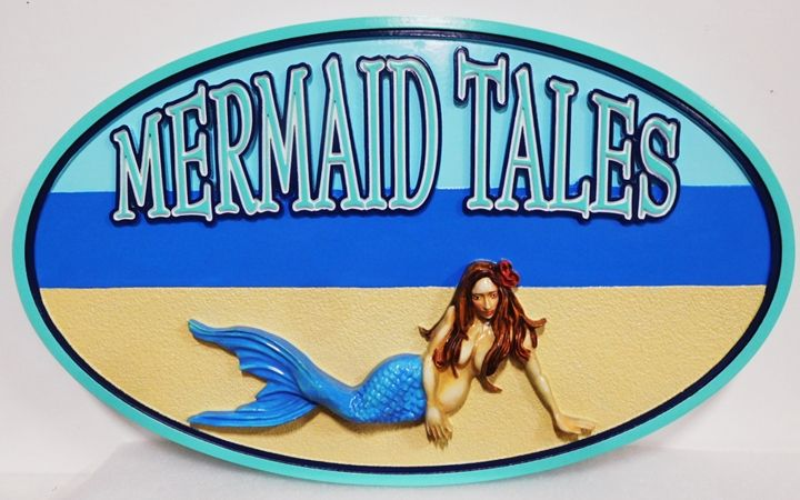 """L21903 - Carved and Sandblasted  Beach House Name Sign """"Mermaid Tales"""", 3-D Artist-Painted with Mermaid as Artwork"""