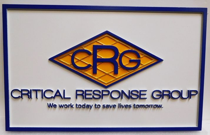 """S28124 - Carved HDU Commercial Sign  for the """"Criticaml Response Group """",  2.5-D Artist-Painted"""