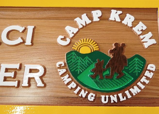 G16337 - Carved Cedar Wood Emblem of a Camp (Camping Unlimited) with Bears, Sun and Trees