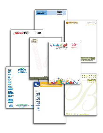 collage of eight stationery samples for local companies