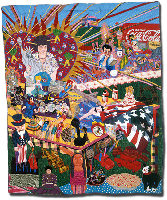 'American Heritage Flea Market,' made by Terrie Hancock Mangat, dated 1986, 84.5 x 70 in