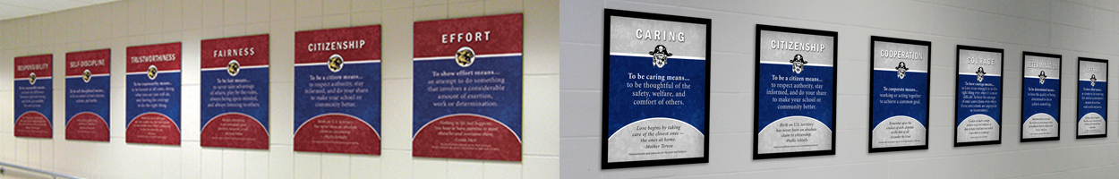 Custom school signs in frames that define character traits, 2 schools shown, red/blue, gray/blue