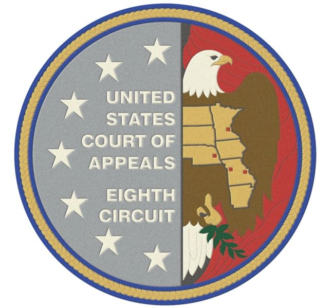 FP-1080 - Carved Plaque of the Seal  of the US Court of Appeals, Eighth Circuit, Artist Painted