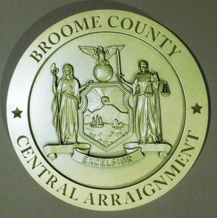 CP-1070 - Plaque of the Seal of Central Arraignment, Broome County, New York, 3-D Two Colors