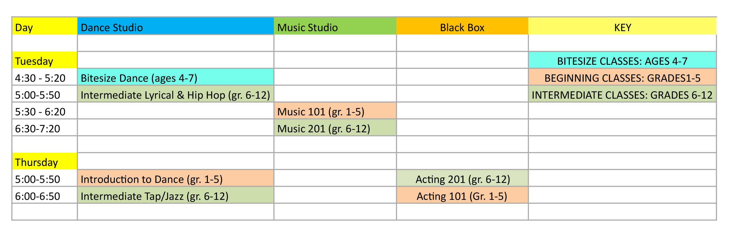 2019 Fall  Stage School Schedule