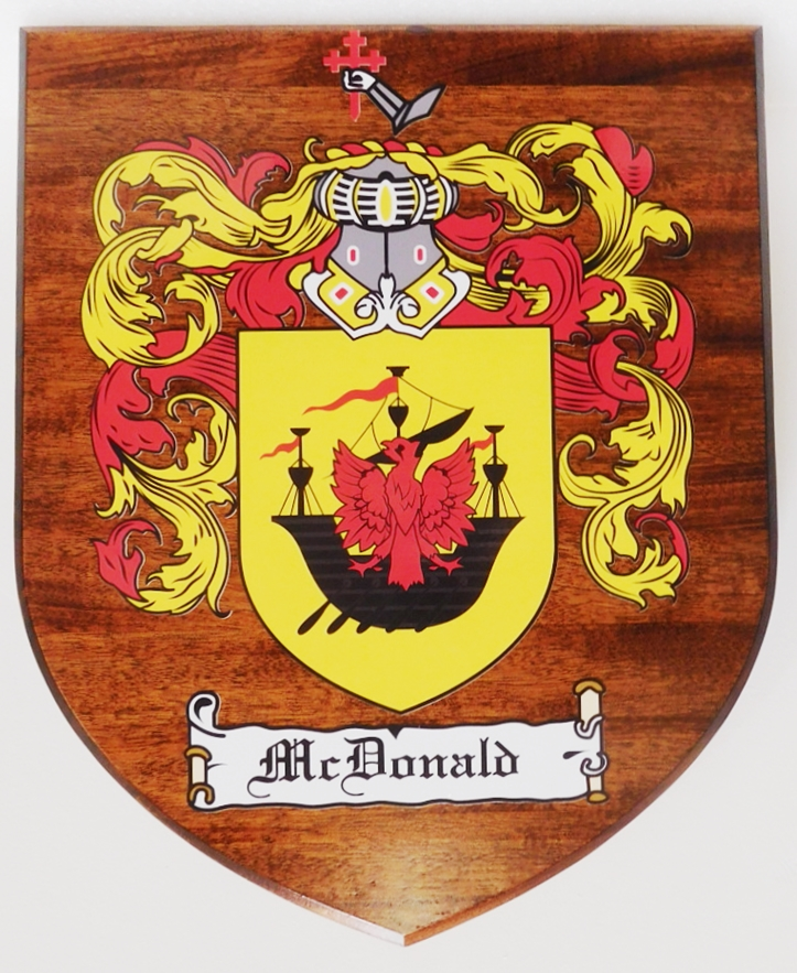 XP-2030 - Carved Mahogany Plaque with Coat-of-Arms for McDonald Family, 2.5-D Engraved Artist-Painted