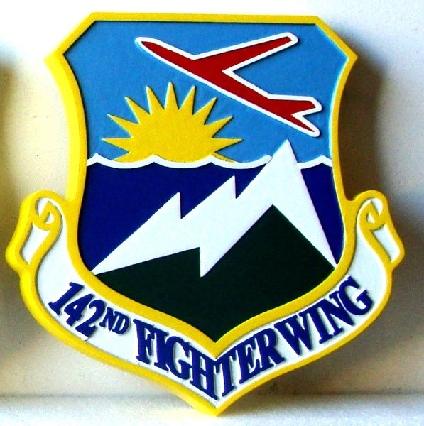 V31589 - Carved Wooden Wall Plaque of the Shield and Crest of the 142nd Fighter Wing, USAF