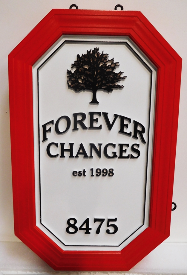 "I18309 - Carved and Sandblasted High-Density-Urethane (HDU)  Property Name Sign, ""Forever Changes"", with Oak Tree as Artwork"