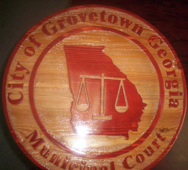 WP5100- Seal for City of Grovetown, Georgia, Engraved Natural  Cedar