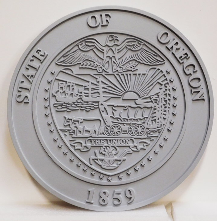 BP-1465- Carved Wall Plaque of the Great Seal of  the State of Nevada, 2.5-D Raised Outline Relief, Painted Gray