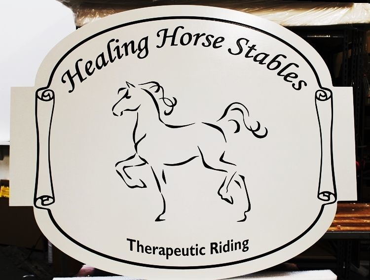 """P25427 - Engraved HDU Sign for """"Healing Horse Stables"""" . with a Stylized Horse as Artwork"""