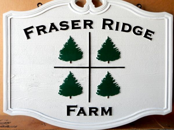 """O24896 - Carved Sign for the """"Fraser Ridge Christmas Tree Farm', with Spruce Trees"""