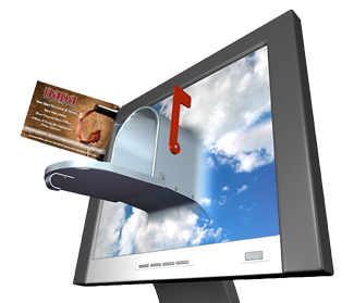 computer and postcard
