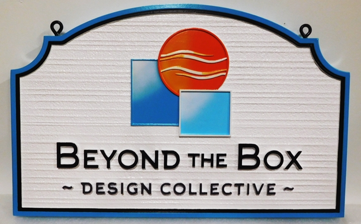 "SA28351 - Carved and Sandblasted Wood Grain HDU Sign for ""Beyond the Box - Design Collective "", 2.5-D Artist-Painted"