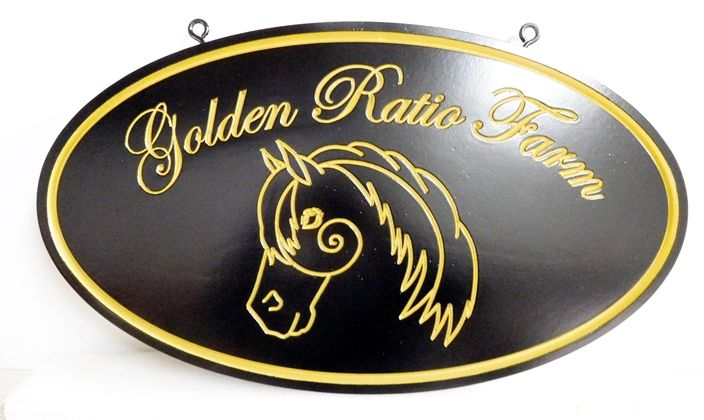 P25311 - Carved HDU For Golden Ratio Farm with 24K Gold-Leaf Text, Horsehead and Borders