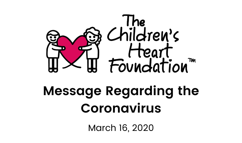 Update from The Children's Heart Foundation Regarding COVID-19